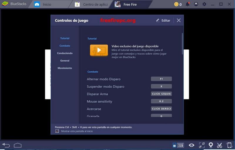 Configuracion de Teclado free fire para PC