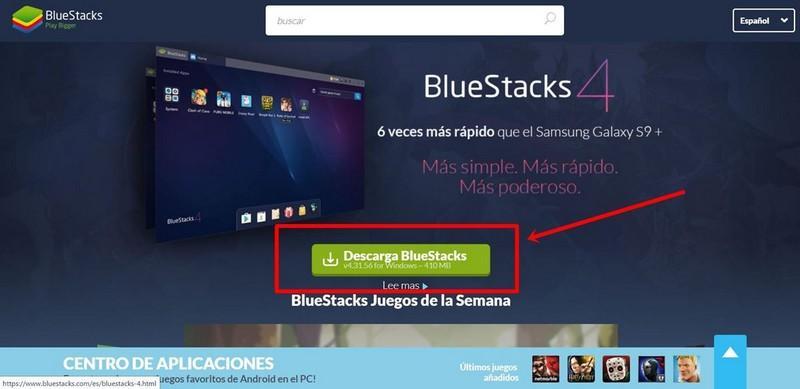 Descargar e instalar Bluestacks 4 free fire