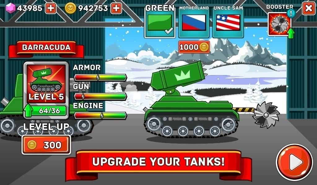 Hills of Steel MOD APK Actualiza tu tanque