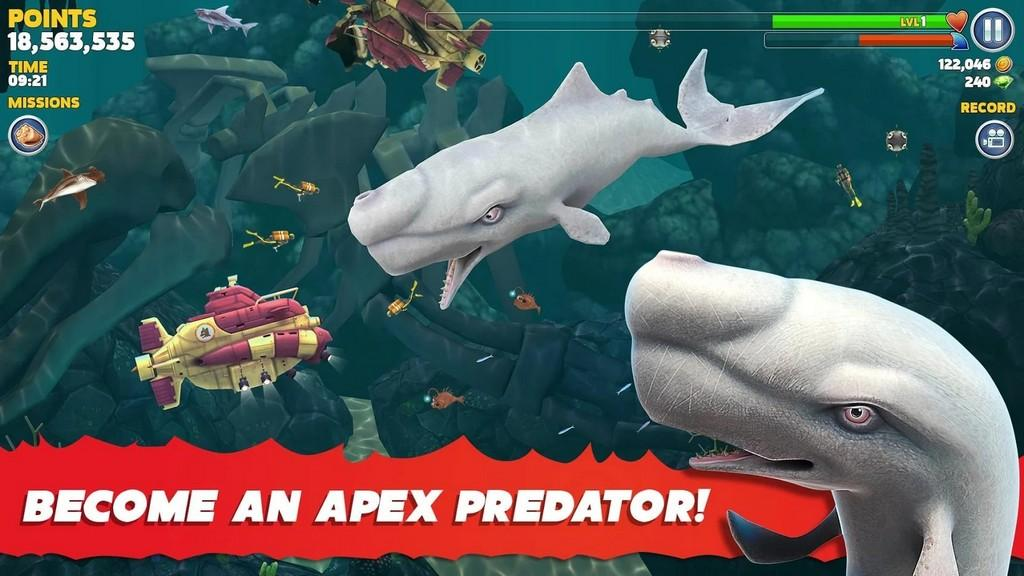 Hungry Shark Evolution MOD APK - Diferentes especie de peces